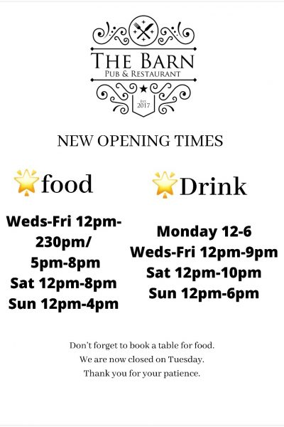 Barn Reopening Times